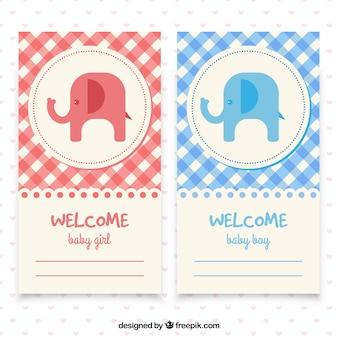 Bonitas tarjetas de bienvenida del bebá con patrón de cuadros