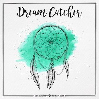 Bonito atrapa sueños dibujado a mano con fondo de acuarela