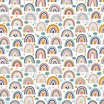 Bonito bebé neutra arco iris bohemio de patrones sin fisuras. superficie de arco iris de tendencia.
