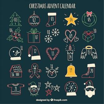 Bonito calendario de adviento con bocetos navideños