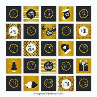 Bonito calendario de adviento en negro y dorado