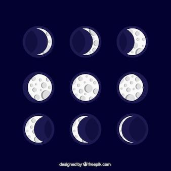 Bonito calendario lunar en diseño plano