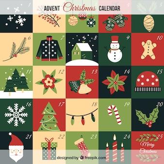 Bonito calendario de navidad con ornamentos