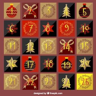 Bonito calendario vintage de adviento con números dorados