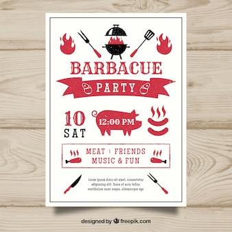 Bonito cartel de la fiesta de barbacoa en diseño plano