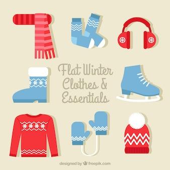 Bonito conjunto de invierno en diseño plano