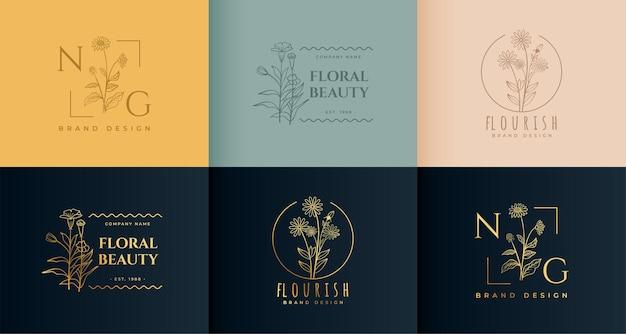 Bonito conjunto de logotipos de línea de flores florales