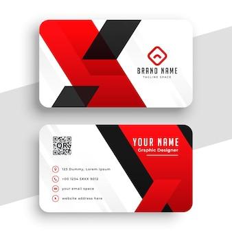 Bonito diseño de tarjeta de visita geométrica roja y blanca.