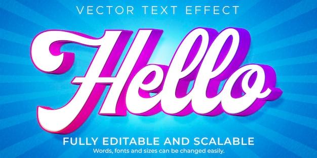 Bonito efecto de texto de dibujos animados, cómic editable y estilo de texto divertido