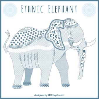 Bonito elefante étnico azul