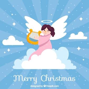 Bonito fondo de ángel navideño