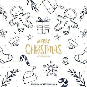Bonito fondo de bocetos de navidad