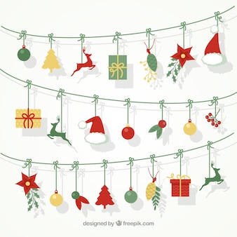 Bonito fondo de guirnaldas con elementos navideños