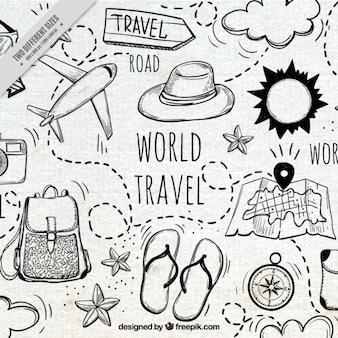 Bonito fondo con elementos de viaje dibujados a mano