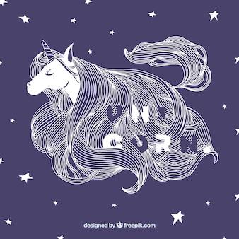 Bonito fondo de estrellas con ilustración de unicornio