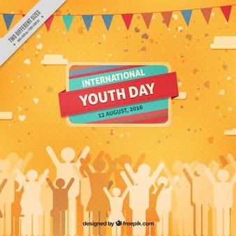 Bonito fondo de gente celebrando el día de la juventud