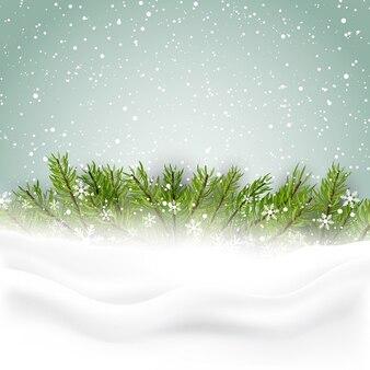 Bonito fondo con hojas de pino para navidad