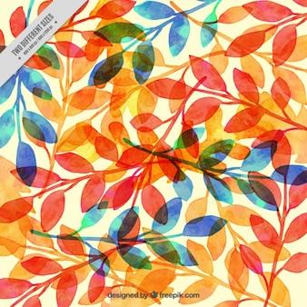 Bonito fondo de hojas secas de acuarela
