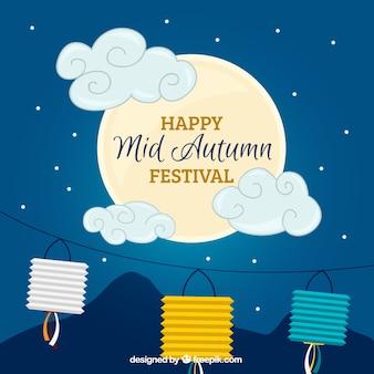 Bonito fondo nocturno con luna y decoración del festival del medio otoño