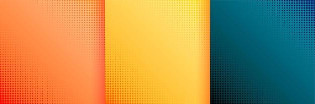 Bonito fondo de papel tapiz de semitono conjunto de tres