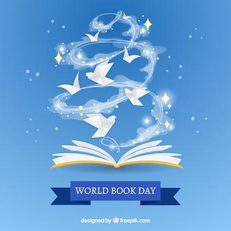 Bonito fondo para el día mundial del libro en diseño plano