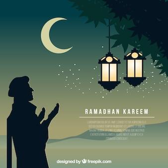 Bonito fondo ramadan con silueta de árabe