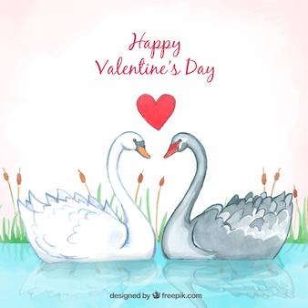 Bonito fondo de san valentín con cisnes
