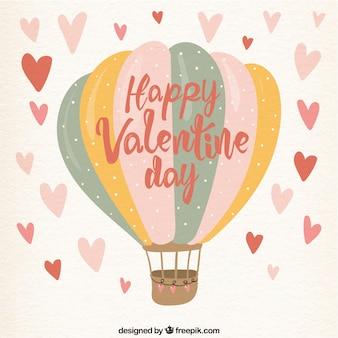 Bonito fondo vintage de feliz valentín con globo aerostático