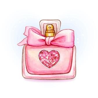 Bonito frasco de perfume de acuarela rosa con corazón diamante y lazo