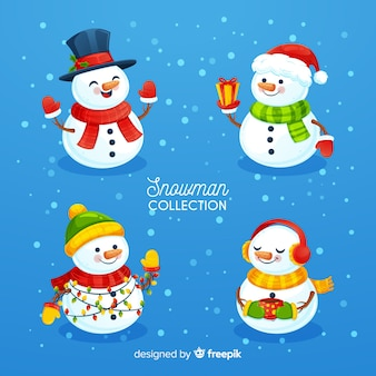 Bonito juego de caracteres de muñeco de nieve