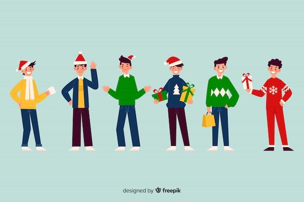 Bonito juego de personajes de navidad
