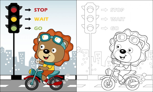 Bonito león de dibujos animados montando motocicleta en la carretera