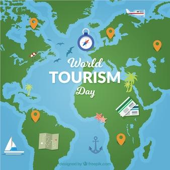Bonito mapa para el día mundial del turismo