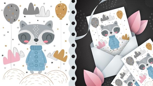 Bonito mapache - idea para tarjetas de felicitación