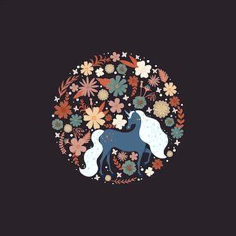 Bonito marco redondo con un unicornio rodeado de flores.