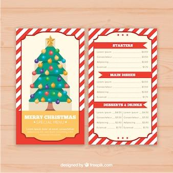Bonito menú retro de árbol de navida