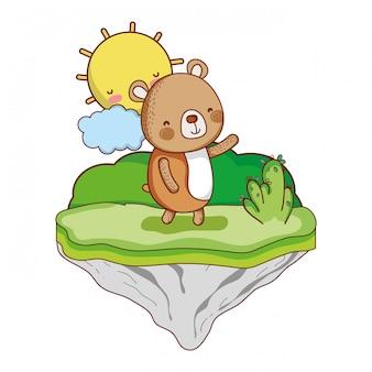 Bonito oso animal en la isla flotante.