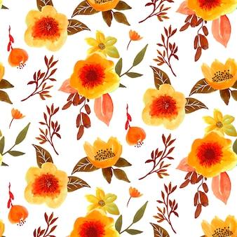 Bonito otoño floral acuarela de patrones sin fisuras