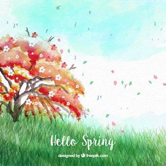 Bonito paisaje con árbol y brisa primaveral