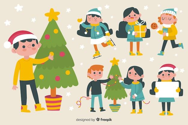 Bonito paquete de personajes navideños