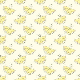 Bonito patrón sin costuras de limón sobre fondo amarillo