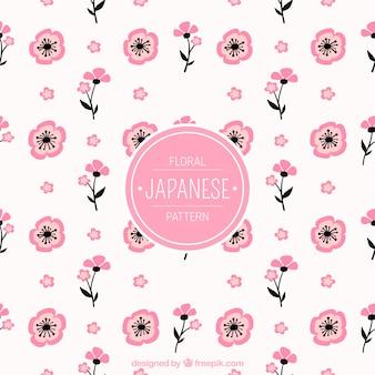 Bonito patrón decorativo de flores japonesas dibujadas a mano