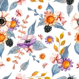 Bonito patrón floral acuarela