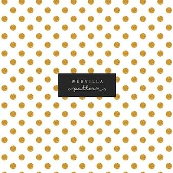 Bonito patrón con puntos dorados sobre un fondo blanco