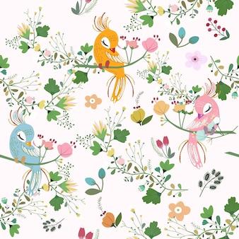 Bonito pavo real con flores de patrones sin fisuras.