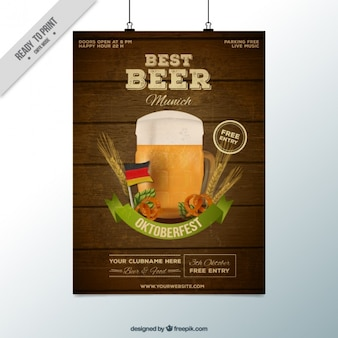 Bonito póster con fondo de madera para el oktoberfest
