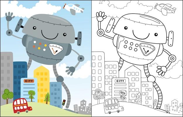 Bonito robot de dibujos animados en la ciudad