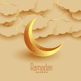 Bonito saludo eid luna y nubes ramadan kareem