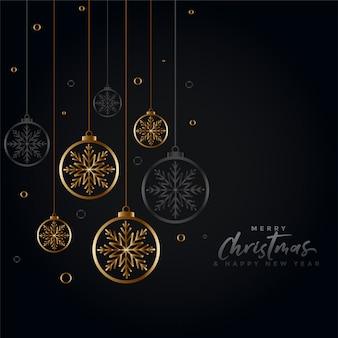 Bonito saludo de feliz navidad negro y dorado