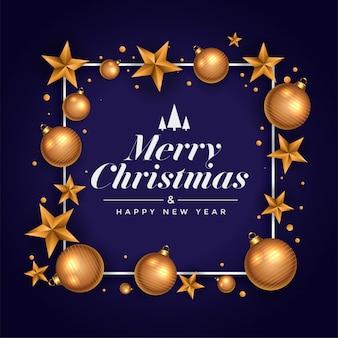 Bonito saludo festivo de feliz navidad con estrella y bola
